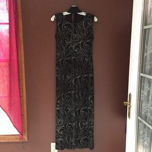 Long Black Long Dress with Gold Accents & Scarf